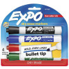 Expo Low Odour Dry Erase Bullet Markers Pack of 4 Assorted Colours