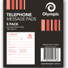 OLYMPIC TELEPHONE MESSAGE PADS 100X120MM 50 LEAF PK5