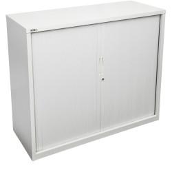 Go Steel Tambour Door Storage Cupboard Includes 2 Shelves 1016Hx1200Wx473mmD Whi