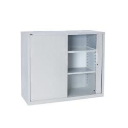 Go Steel Tambour Door Storage Cupboard Includes 2 Shelves 1200Hx1200Wx473mmD Whi