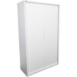 Go Steel Tambour Door Storage Cupboard Includes 5 Shelves 1981Hx1200Wx473mmD Whi