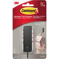 Command Decorative Hook 17034MB-ES Medium Single Matte Black