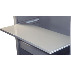 Steelco Tambour Door Pull Out Reference Shelf Suits 900W Unit Satin Silver