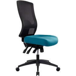 Buro Tidal Office Chair High Mesh Back No Arms Seat Slide Teal Fabric Seat and B