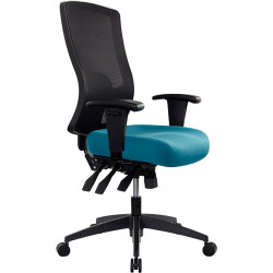 Buro Tidal Office Chair High Mesh Back With Arms Seat Slide Teal Fabric Seat and