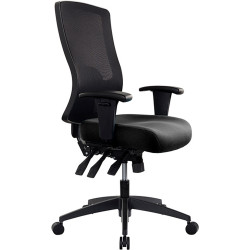 Buro Tidal Office Chair High Mesh Back With Arms Seat Slide Black Fabric Seat an