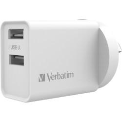 Verbatim Dual USB Port Charger 2.4A White