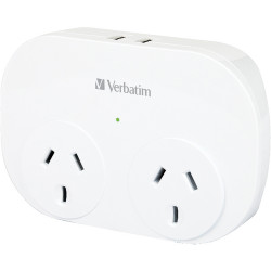 Verbatim 2 USB Surge Protected Double Adapter White