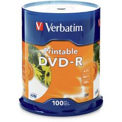 VERBATIM DVD-R 4.7GB SPINDLE 100 WHITE INKET PRINTABLE PK100