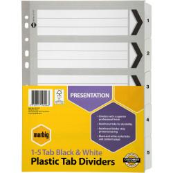 A4 BLACK & WHITE 1-5 TAB DIVIDERS SET 35111F