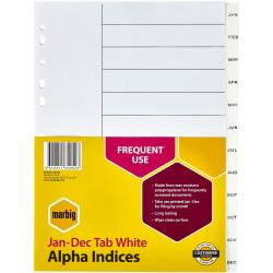 MARBIG POLYPROPYLENE INDICES JAN-DEC A4 White Divider