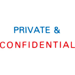 XSTAMPER - 2 COLOUR 2010 PRIVATE & CONFIDENTIAL STAMP Red/Blue