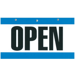 GEO COLOURED SIGNS 75x150mm OPEN/CLOSED BLUE/WHITE