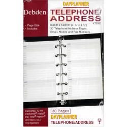 Debden Dayplanner Refill Telephone Address 80X120Mm