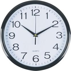 ITALPLAST WALL CLOCK 30cm Black Frame/White Face