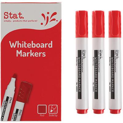 STAT WHITEBOARD MARKER BULLET 1.3mm Red